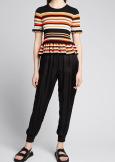 cinq a sept Milly Stripe Peplum Sweater