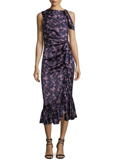 cinq a sept Nanon Sleeveless Ruched Floral-Print Midi Cocktail Dress