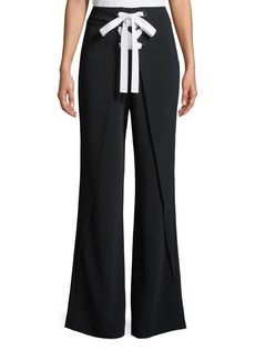 cinq a sept Nica Lace-Up Flared Crepe Pants