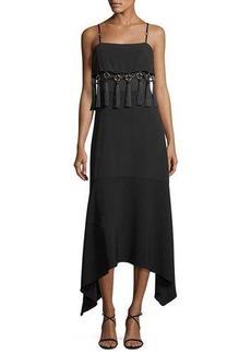 cinq a sept Nolana Sleeveless Tassel-Trim Midi Dress