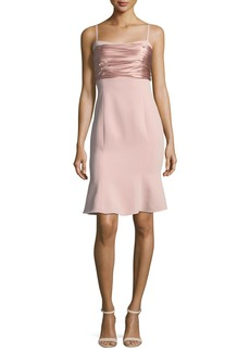 cinq a sept Paloma Sleeveless Crepe Dress w/ Ruched Satin Tie