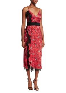 cinq a sept Petra Sleeveless Faux-Wrap Silk Dress W/ Lace Trim