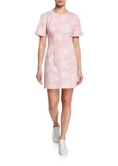 cinq a sept Phoenix Madison Leaf-Print Short-Sleeve Mini Dress