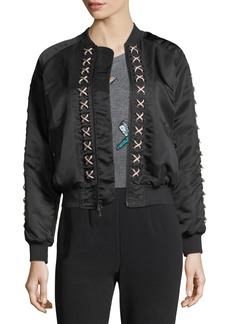 cinq a sept Pria Lace-Up Satin Bomber Jacket