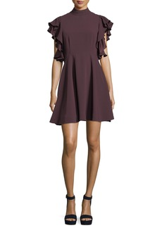 cinq a sept Reina Mock-Neck Ruffled Sleeves Crepe Mini Dress