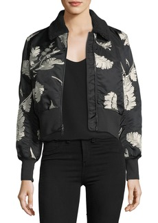 cinq a sept Renley Embroidered Cropped Bomber Jacket