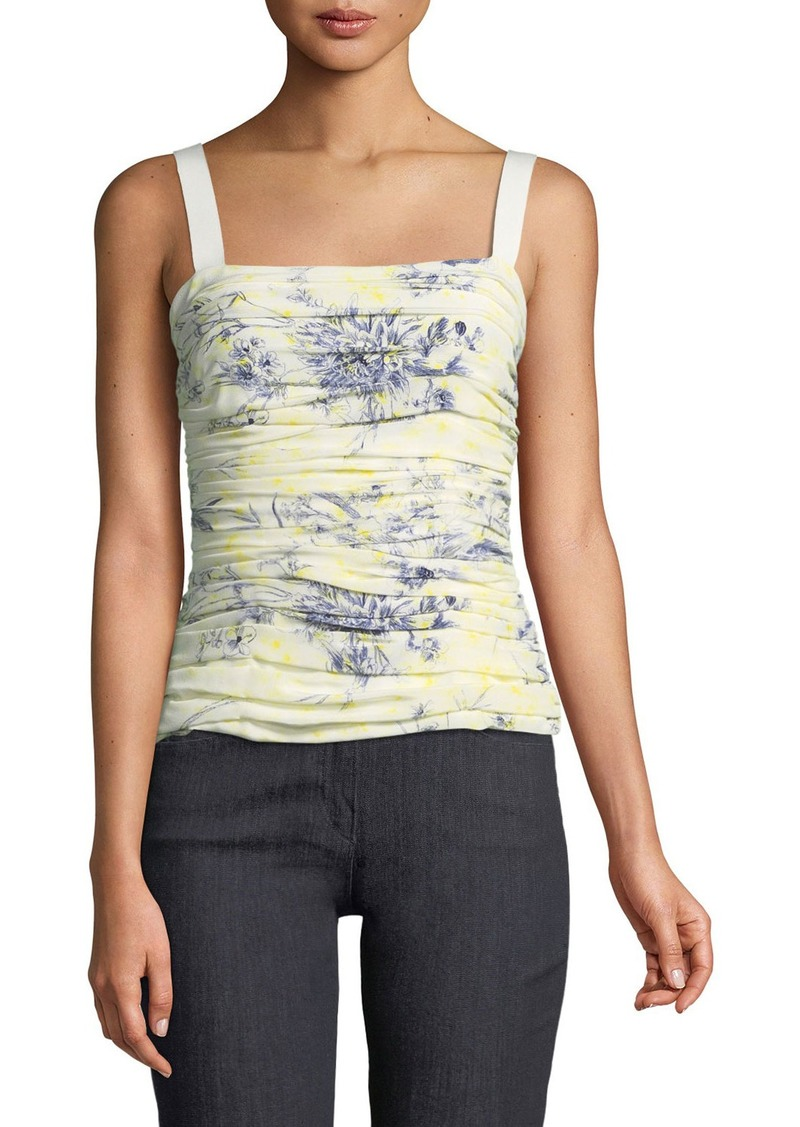 cinq a sept Rian Floral-Print Ruched Top