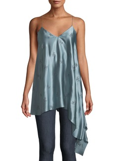cinq a sept Romeo Embroidered Silk Cami Top