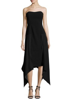 cinq a sept Strapless Handkerchief-Hem Midi Dress