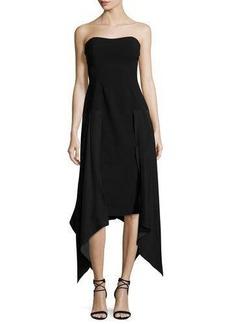 cinq a sept Strapless Handkerchief-Hem Midi Dress