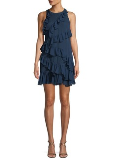 Cinq a Sept Taghrid Sleeveless Ruffled Silk A-Line Short Dress