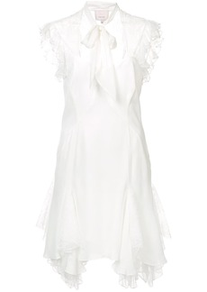 Cinq A Sept tie neck lace inset mini dress - White