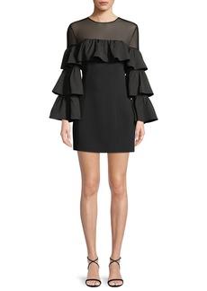 cinq a sept Valentina Ruffle Long-Sleeve Cocktail Dress