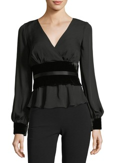 cinq a sept Wes V-Neck Long-Sleeve Blouse with Velvet