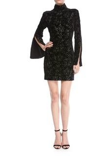 cinq a sept Winslow Turtleneck Bell-Sleeve Velvet Dress w/ Floral Metallic