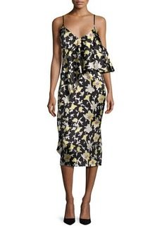 cinq a sept Zuri Floral Cold-Shoulder Slip Dress