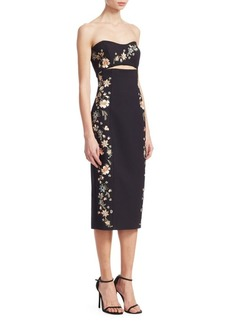 Cinq a Sept Clemence Strapess Embroidery Dress