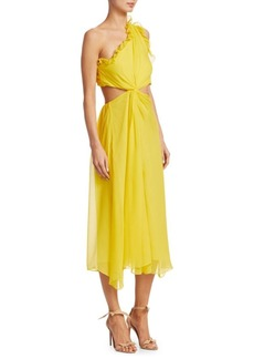 Cinq a Sept Corinne One-Shoulder Silk Midi Dress