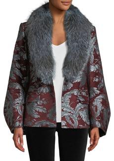 Cinq a Sept Courtney Jacquard Single-Button Jacket w/ Fox Fur Collar