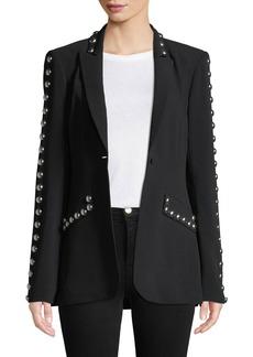 Cinq a Sept Dive Studded Crepe Single-Button Jacket