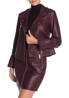 Cinq a Sept Eloise Pleated Ruffle Leather Moto Jacket