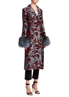 Cinq a Sept Embroidered Jacquard Fur-Trim Coat