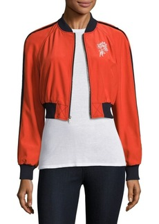 Cinq a Sept Emerson Cropped Silk Bomber Jacket