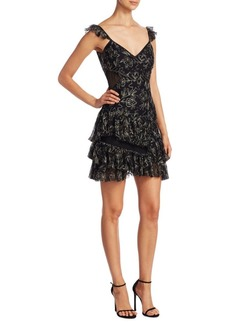 Cinq a Sept Enid Embroidered Ruffle Dress