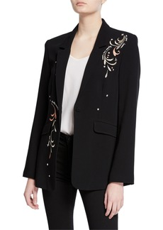 Cinq a Sept estelle embroidered one-button crepe blazer