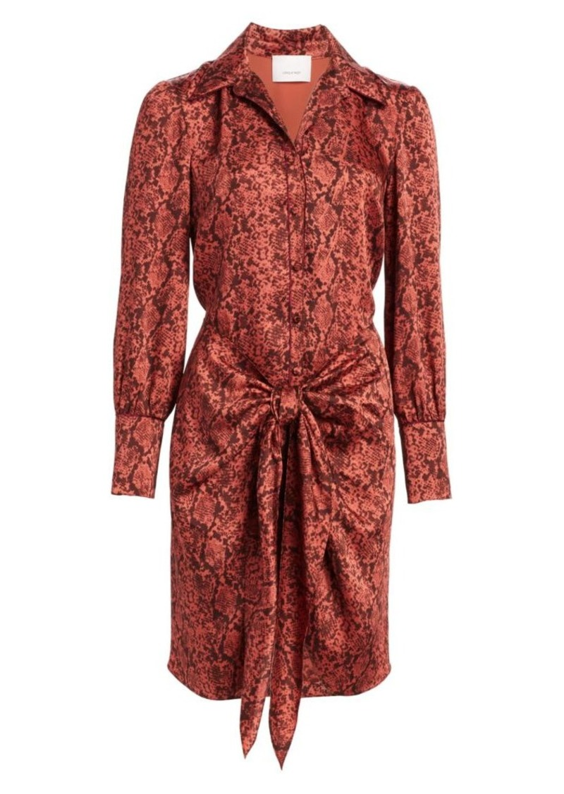 Cinq a Sept Gaby Python-Print Tie-Front Shirtdress
