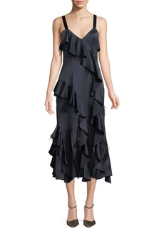Cinq a Sept Gigi V-Neck Sleeveless Satin Ruffled Dress w/ Feather Trim