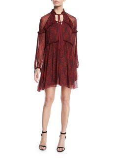 Cinq a Sept Gisele Floral Silk Ruffle Long-Sleeve Shift Dress