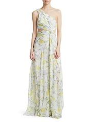 Cinq a Sept Goldie One-Shoulder Floral Silk Gown