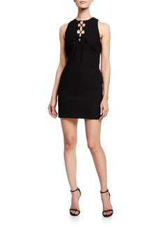 Cinq a Sept Irene Lace-Up Sleeveless Cocktail Dress