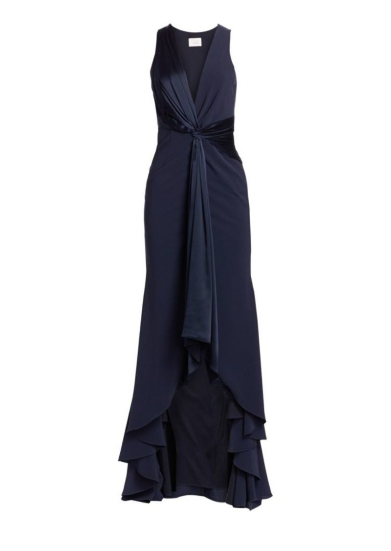 Cinq a Sept Iris Plunging Twist High-Low Gown