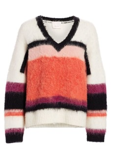 Cinq a Sept Isabella Striped Fuzzy Sweater
