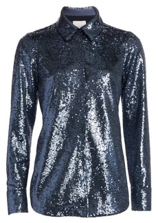 Cinq a Sept Isha Sequin Point Collar Shirt