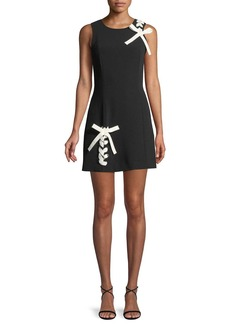 Cinq a Sept Izella Sleeveless Mini Dress with Lace-Up Details