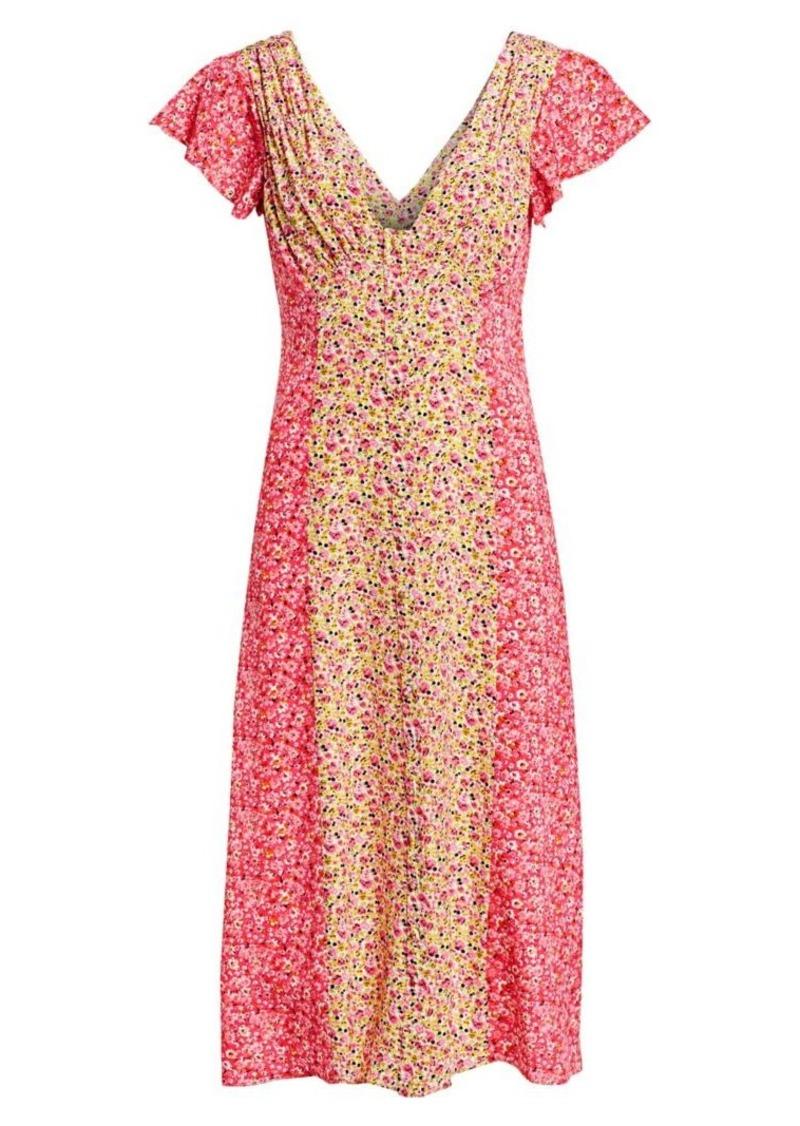 Cinq a Sept Jessica Colorblock Floral Short-Sleeve Dress