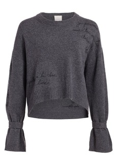 Cinq a Sept Josephine Embroidered Crewneck Sweater