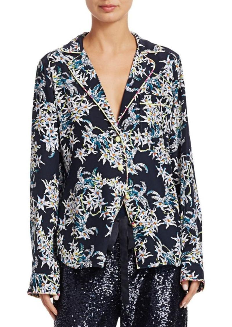 Cinq a Sept Juliet Silk Print Pajama Shirt