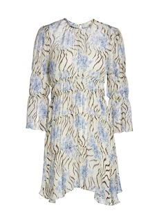 Cinq a Sept June Printed Ruffle Silk Dress