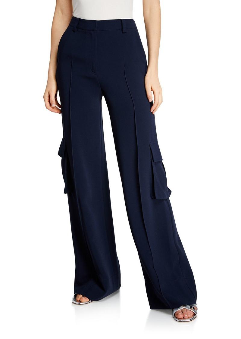 Cinq a Sept Kai Wide-Leg Crepe Pants w/ Cargo Pockets