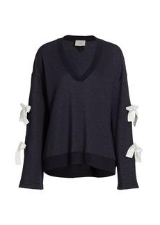 Cinq a Sept Kathy Bow V-Neck Sweatshirt