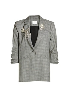 Cinq a Sept Khloe Embroidered Houndstooth Blazer