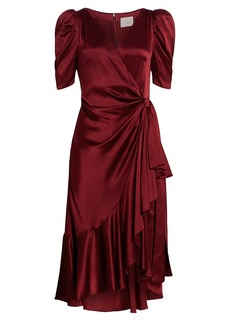 Cinq a Sept Lisa Silk Ruffle Wrap Dress