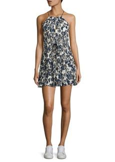 Cinq a Sept Lotus Floral-Print Silk Halter Dress