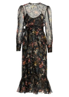 Cinq a Sept Marianne Floral Silk Long Puff-Sleeve Midi Dress