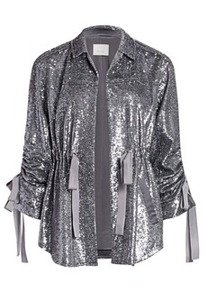 Cinq a Sept Mathieu Ruched Sequin Jacket