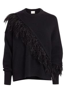 Cinq a Sept Merritt Feather-Trim Crewneck Sweater